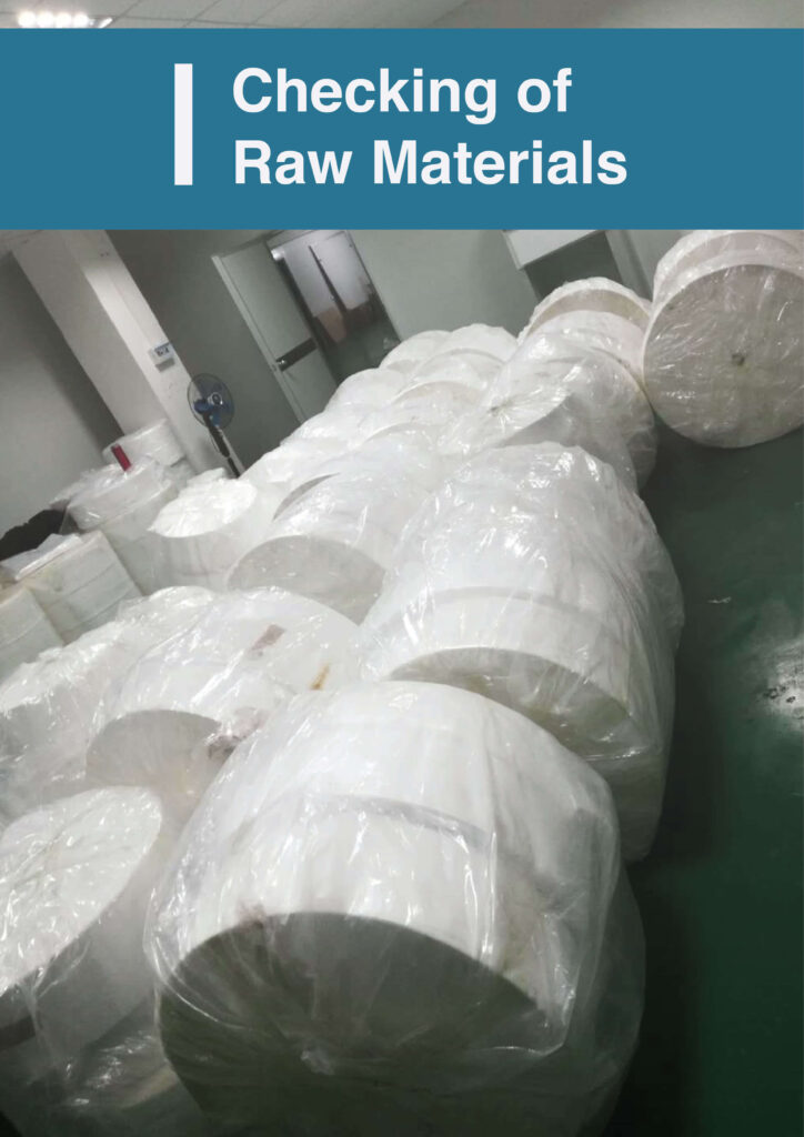 Raw materials checking of Ultifresh 3ply surgical mask with BFE>99% protection