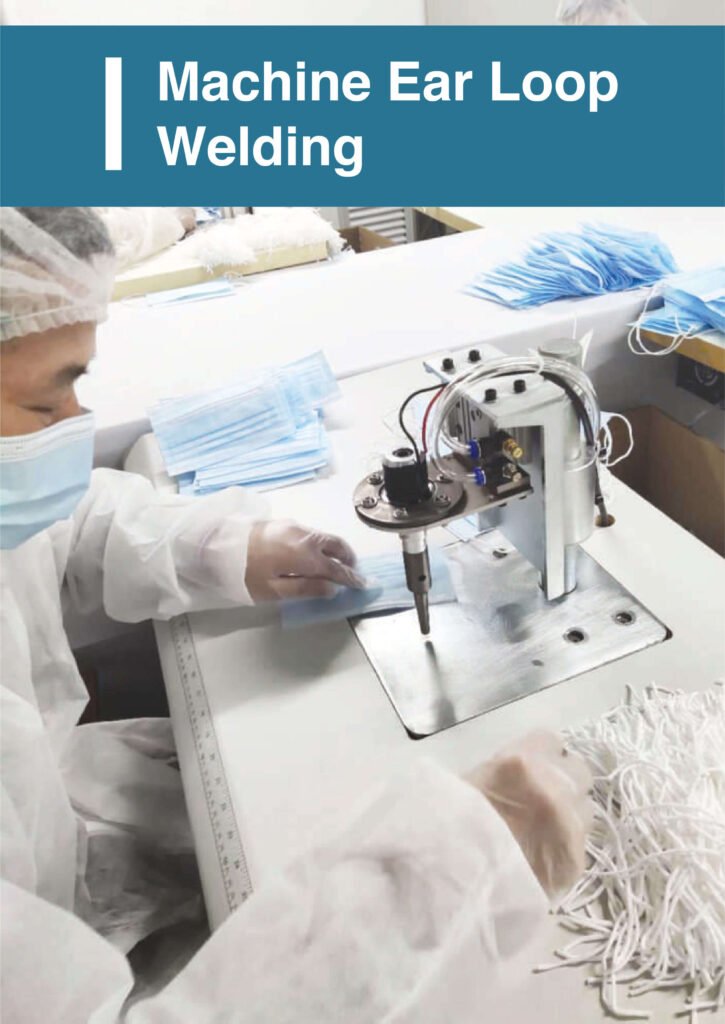 Ear loop welding of Ultifresh 3ply surgical mask with BFE>99% protection