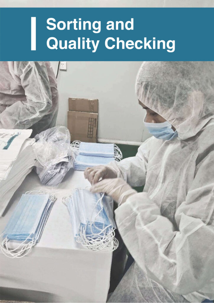 Sorting and Quality checking of Ultifresh 3 ply surgical face mask