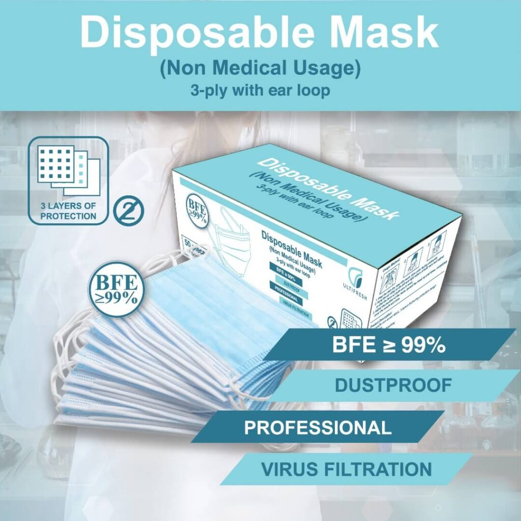 Ultifresh Disposable Surgical Mask with BFE>99%