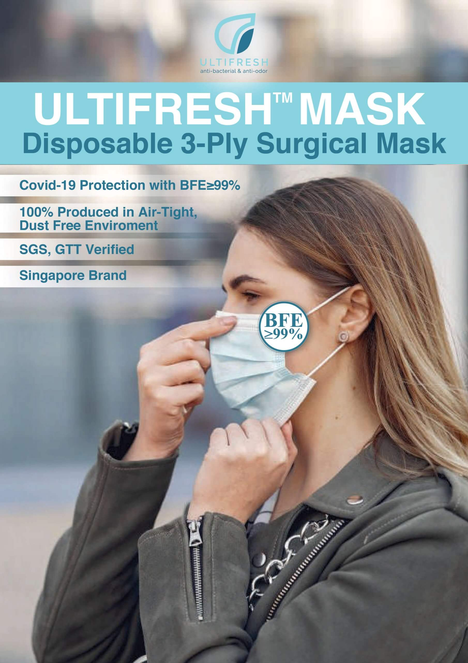 Ultifresh 3ply surgical mask with BFE>99% protection