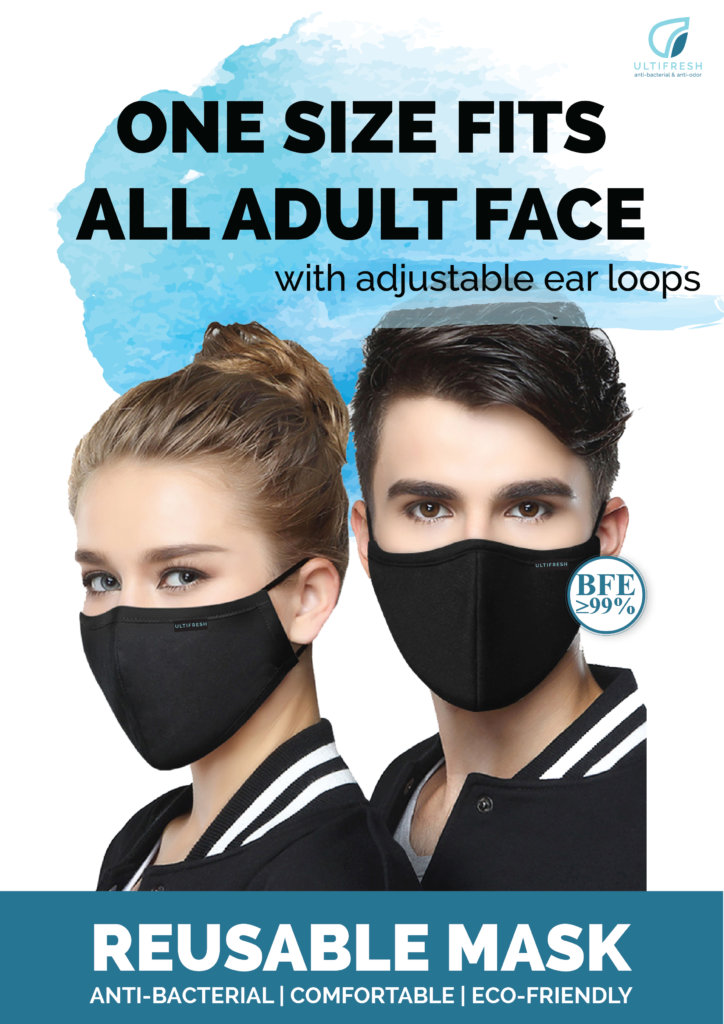 Ultifresh one size fits all adult face reusable mask with adjustable earloops